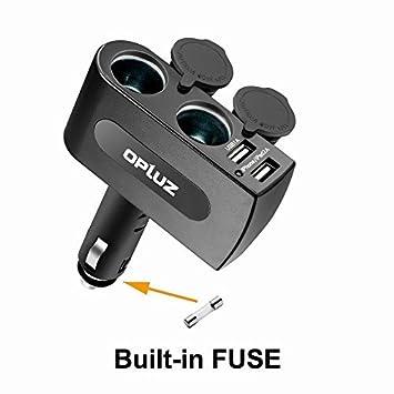 Opluz Cargador de Coche 2 Puertos USB Adaptador de Coche con Doble Encendedor de Cigarrillos USB Adaptador Encendedor Mechero de Coche con Doble Tomas ...