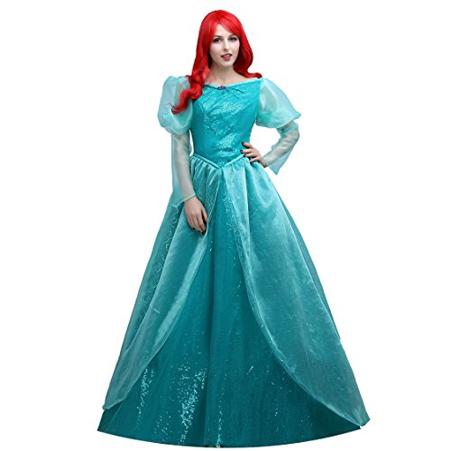 Angelaicos Women's Luxury Lace Full Length Princess Dress Costume Ball Gown (M)