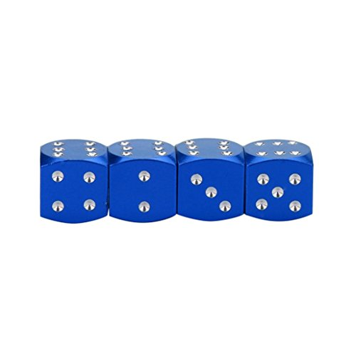 4Pc Dice Dust Valve Caps Car Motorcycles Electric Cars 80's Novelty Fun Retro,Tuscom (Blue)
