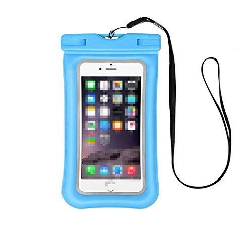 1PCS 7.5inx4.3in( ID Fingerprint)PVC Universal IPX8 Cellphone Waterproof Pouch Water Sports Underwater Phone Storage Dry Bag Case Holder with Lanyard for Iphone Samsung Series Up To 6IN(Sky Blue)
