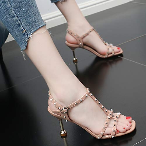 Fashion Comfortable Strap High Summer Women'S Temperament Black SFSYDDY 8Cm Heel Shoes Thin Rivets Shoes With UnwX4Sqz