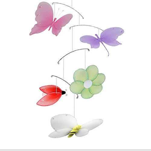 Butterfly Dragonfly Ladybug Flower Bee Jewel Nylon Mesh Mobile Decorations Decorate Baby Nursery Bedroom Girls Room Ceiling Decor Birthday Party Baby Shower Crib Mobile Baby Mobile Hanging Mobile 3D ()