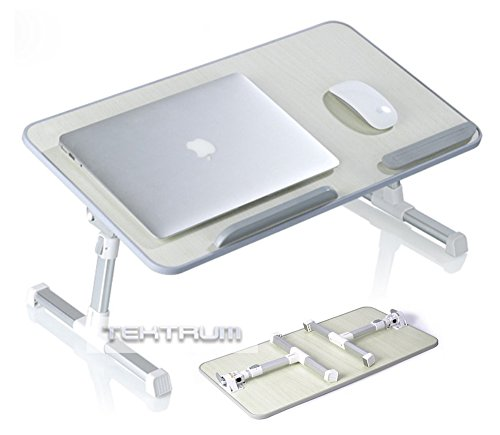"""Price comparison product image Tektrum Adjustable Laptop Table, Laptop Bed Tray, Portable Standing Table, with Foldable Legs, Foldable Sofa Couch Breakfast Tablet Table, Notebook Stand Reading Holder - Beige, Fits for 17"""" or Larger"""
