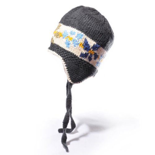 ChunkiChilli Unisex-Baby's Organic Cotton Flower Stripe Earflap Hat 3-10 Years Grey
