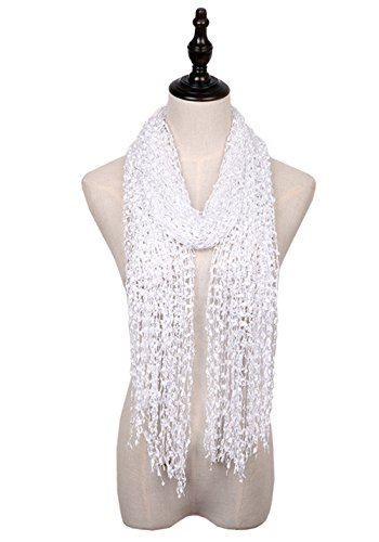 eight Confetti Scarf Solid Women Shawls Wraps For Evening Dresses (White) ()