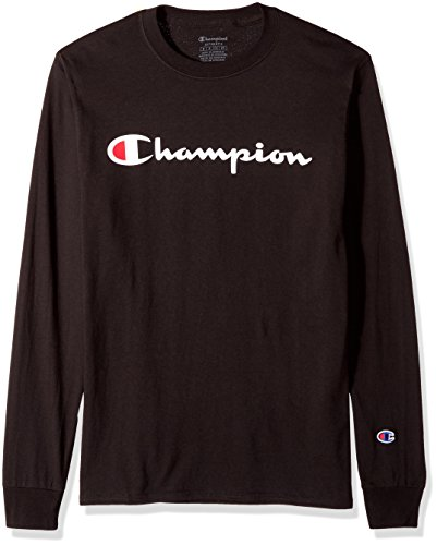 Champion Men's Classic Jersey Long Sleeve Script T-Shirt, Black, X Lg