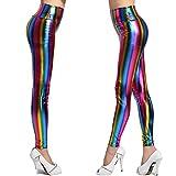 fashioncrazexx Ladies Girls 80s Retro Metallic Leggings Adult Disco Fancy Dress Costume Womens Outfit Pants#(Rainbow Stripe Legging # 13 Years