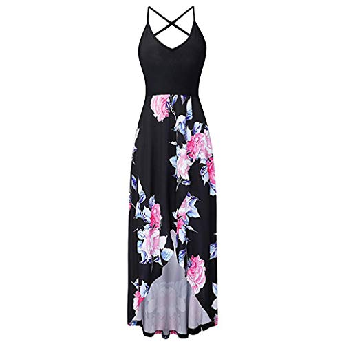 Fashion Sleeveless Sexy Backless Irregular Skirt Summer Casual Dresses Printed Halter Dress for Women's (M, Black) by S&S-women (Image #1)