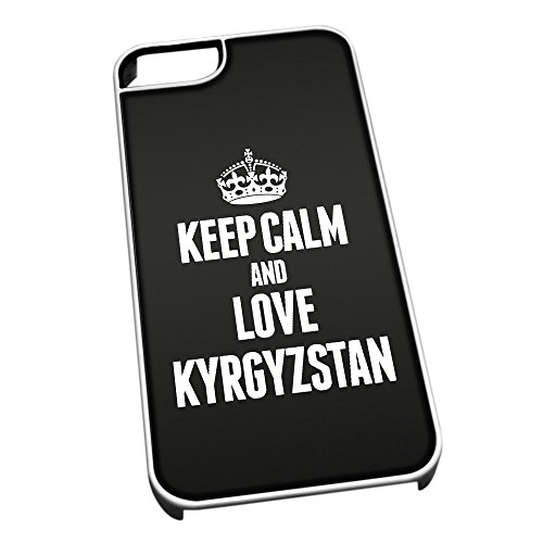 Bianco cover per iPhone 5/5S 2222nero Keep Calm and Love Kyrgyzstan