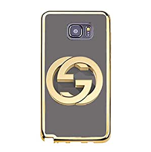 Samsung Galaxy Note 5 Gucci Logo Phone Case TPU Soft Golden Border Protector with Contracted Gucci Design