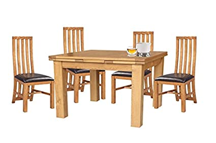 Trithi Furniture Toronto American Solid Oak Dining Set With Extendable Table  And Wood Seat Chair Set