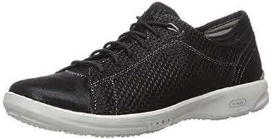 ROCKPORT Women's Truflex W Lace to Toe Sneaker,Black Leather,US 5 M