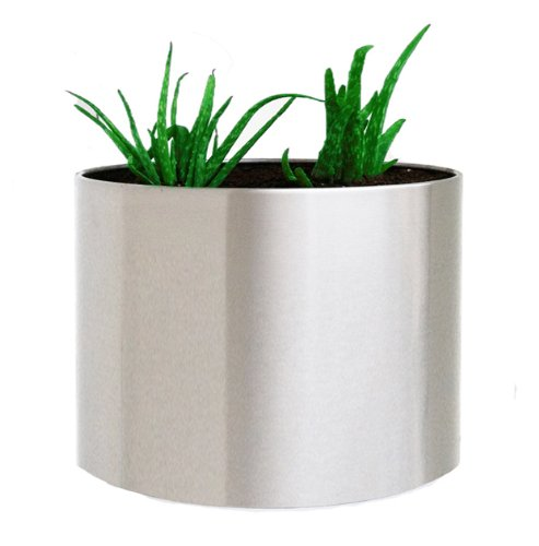 Brushed Stainless Steel Planter - Extra Large - 24'' diam. x 20'' ht. by NMN Products