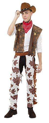 Bristol Novelty AC623 Cowboy Costume and Cow Print Chaps, White, -