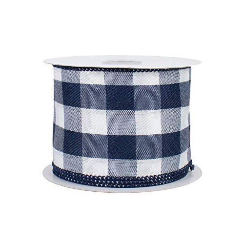 Navy Blue Plaid Wired Ribbon - 2 1/2 Inch x 10 Yards, Summer, Fall, Christmas, Birthday, Easter, Wedding Decor, Father's Day, Baby Shower, Farmhouse Decor ()