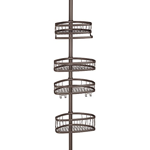 InterDesign York Constant Tension Shower Caddy – Bathroom Storage Shelves for Shampoo, Conditioner, Soap and Razors, - Chestnut Wall Metal