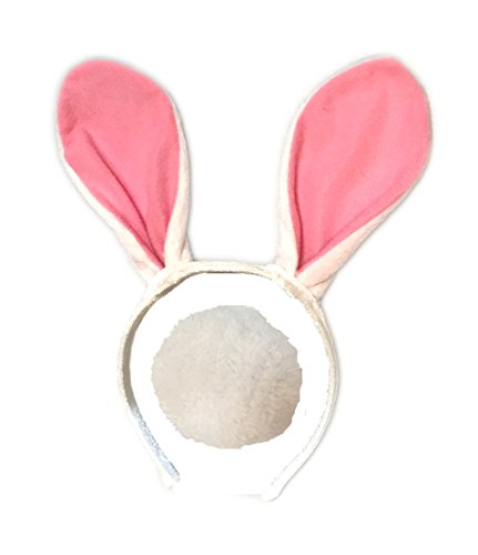 Bunny Child Costumes Kit (Plush Bunny Ears Headband with Fluffy Tail - Bunny Costume - Woman Bunny Costume - Child Bunny Costume - LOTS OF COLORS- (Pink))