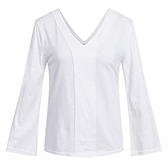 Bewish Women's Deep V Neck Ruffle Long Sleeve Blouse T-Shirt Tops Tee Pullover