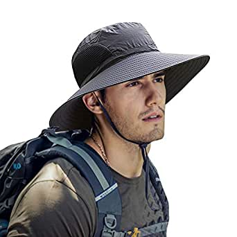 Mens Sun Hat Summer Unisex Sun UV Protection Bucket Hat Outdoor Waterproof Wide Brim Hat with Breathable Mesh and Chin Strap for Camping Cycling Hunting Golf Hiking Fishing Hat (Dark Grey)