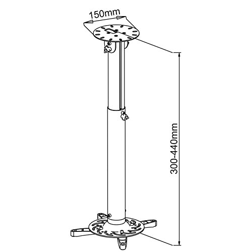 extendible from 30cm to 44cm Tiltable 130/° Rotatable 360/° for Sony VPL-SW235 white Projector ceiling bracket