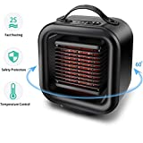 OYRGCIK Space Heater, Portable Ceramic Heater Personal Electric Heater Fan Safe Oscillating PTC Heater with Tip-Over Auto Shut Off Overheating Protection for Office Indoor Home Bedroom, Black For Sale