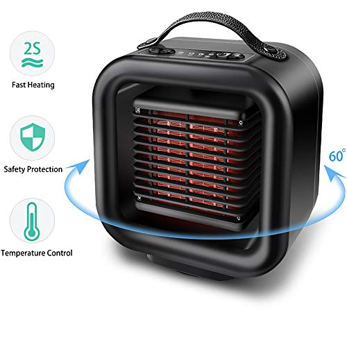 OYRGCIK Space Heater, Portable Ceramic Heater Personal Electric Heater Fan Safe Oscillating PTC Heater with Tip-Over Auto Shut Off Overheating Protection for Office Indoor Home Bedroom, Black