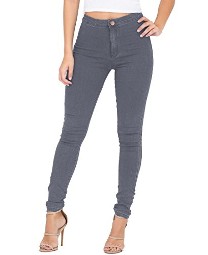 ESDAMIER Women's High Waist Butt-Lifting Skinny Jeans Elastic Pencil Jeggings Pants(Gray,M)