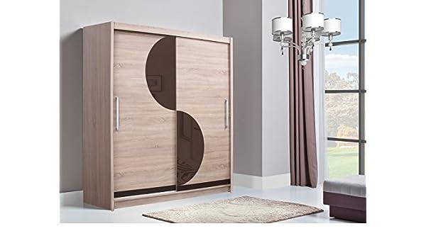 Alma grande alto color de alta Amplia estantes de armario con puertas correderas, barra para colgar armario de 2 puertas en madera de roble de Sonoma: Amazon.es: Hogar