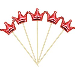 STARUBY 20Pcs Cupcake Toppers Crown Cupcake Topper Mini Fun Birthday Cake Decoration Red Toppers Picks for Baby Boys Girls Kids Birthday Party and Wedding Supplies