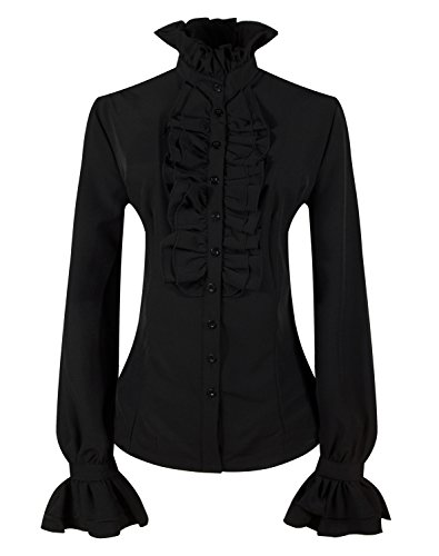 DEARCASE Women's Vintage Ruffle Long Sleeve Shirt Blouse Tops Black XL]()
