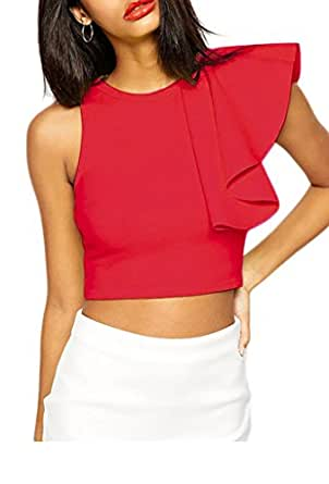 ZKESS Womens Cocktail Club One-shoulder Ruffle Crop Top Small Size Red
