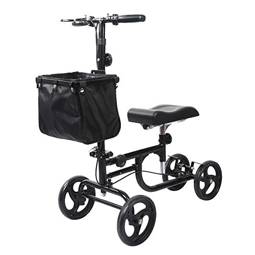 - ELENKER Steerable Knee Walker Deluxe Medical Scooter for Foot Injuries Compact Crutches Alternative Black