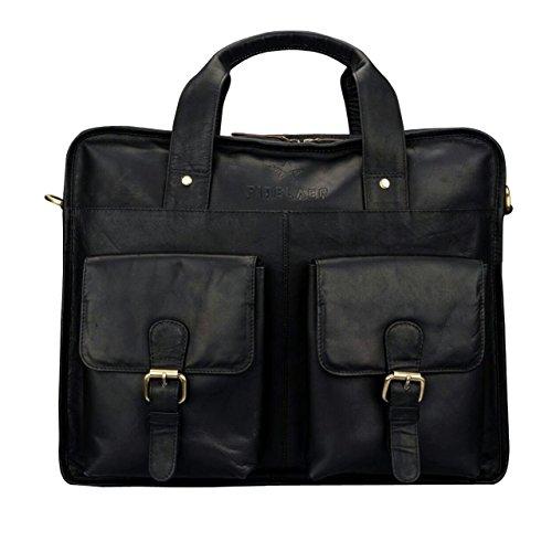 Finelaer Leather Laptop Computer Messenger Bag with Pockets for laptops Macbooks 14'' Black by FINELAER (Image #4)