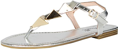 Avery Ankle Strap (Anna Womens Avery Triangle Accent T-Strap Ankle Strap Flat Thong Sandal,Silver,9)