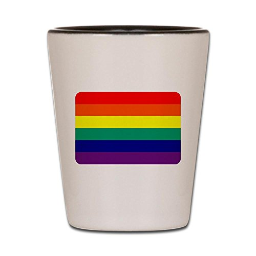 Shot Glass White and Black of Gay Pride Rainbow Flag HD