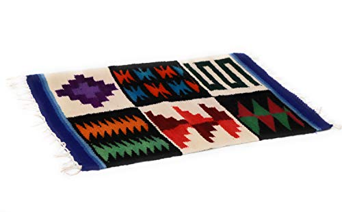 Dining Decor Placemat Peruvian Textile, Tapestry Multicolor Natural Dyed, Inca Calendar 15.75