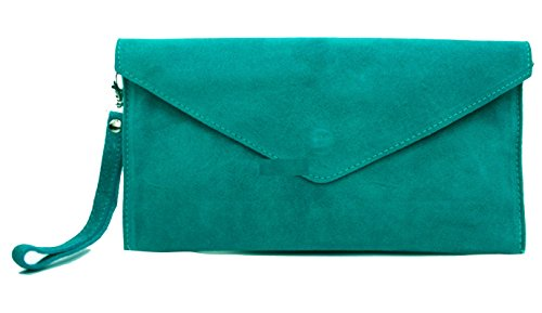 In Colors Purse Suede Shaped tl Italian Available Clutch 011 Teal Bag Large Gfm 25 Envelope Handbag Brand xOgwPRp