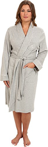 Lauren by Ralph Lauren Women's Plus Size Essentials Quilted Collar and Cuff Robe Heather Grey X-Large