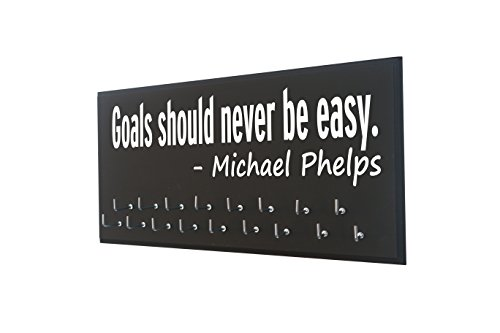 RunningontheWall Swimming Ribbon Holder, Swimming Gifts for Girls Goals Should Never BE Easy -Michael Phelps Swimmer Medal Holder, Swimming Award Display Rack