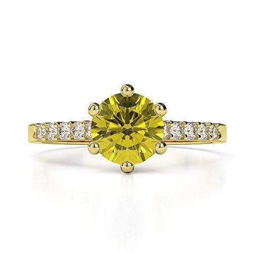 Or jaune 18carats 1CT G-H/VS sertie de diamants ronds Cut Saphir Jaune et bague de fiançailles Agdr-1208