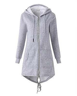 Kidsform Women's Full Zip Hoodie Long Sleeve Casual Long Sweatshirts Solid Hooded Jacket with Pockets
