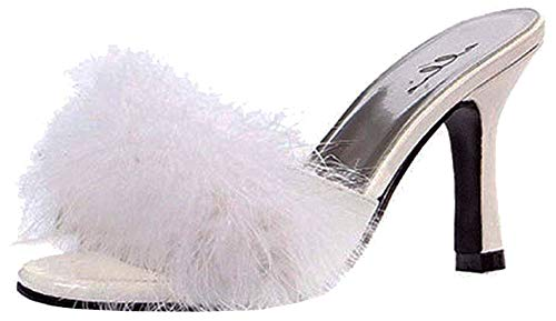 Ellie Shoes Women's 3.5 Inch Heel Maribou Slippers (White;8)