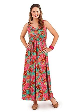 404dceb592bb Pistachio Women s Pink Green Floral Print Bright Summer Maxi Dress L ...