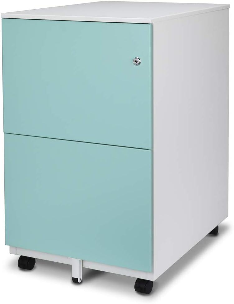 Aurora FC-102BL Modern Soho Design 2-Drawer Metal Mobile File Cabinet with Lock Key/Fully Assembled, White/Aqua Blue
