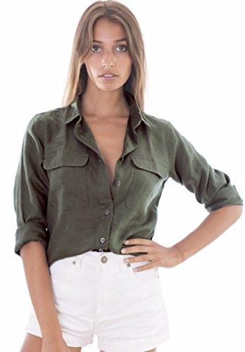 CAMIXA Womens 100% Linen Button Down Shirt Casual Basic Blouse Pockets Loose Top XXL Green