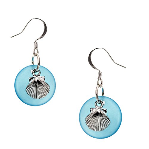 Sea Glass and Scallop Shell Earrings by Cape Cod Jewelry-CCJ ()