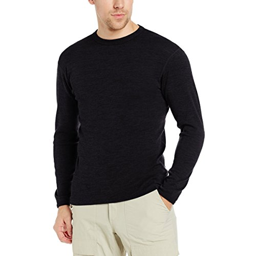 Mens Regular Merino Wool - Minus33 100% Merino Wool Base Layer 705 MidWeight Crew Neck Top Black XL