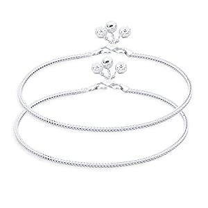 e41adb4ff Taraash Single Line Plain Ending with Floral Charm 925 Sterling Silver  Anklet for Women AN0538S