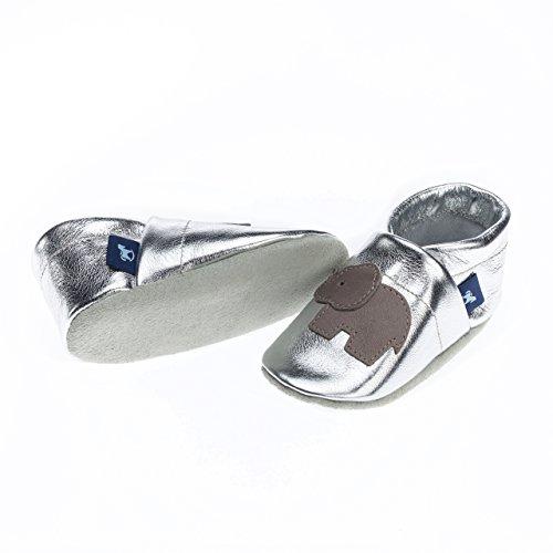 pantau Leder Krabbelschuhe Lederpuschen Babyschuhe Lauflernschuhe mit Elefant, 100% Leder SILBER_GRAU