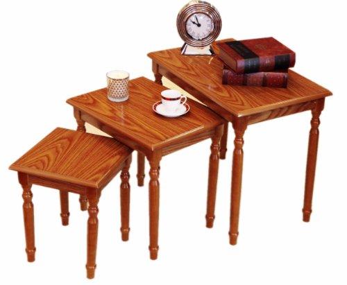 Frenchi Home Furnishing Nesting Table, 3-Piece, Oak